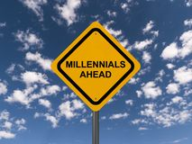 Ostrożność millennials naprzód ilustracji