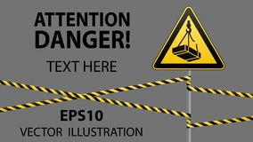 Ostrożność - niebezpieczeństwo Maja spadek od wzrosta ładunek Zbawczy znak trójgraniasty znak na metalu słupie z ostrzeżeniem skr Obraz Stock