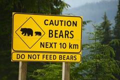Ostrożność niedźwiedzi znak fotografia royalty free