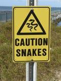 Ostrożność znaka węże przy Mobilnym promem Obraz Stock