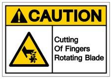Ostrożności Ciąć palce Wiruje ostrze symbolu znaka, Wektorowa ilustracja, Odizolowywa Na Białej tło etykietce EPS10 ilustracji