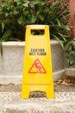 Ostrożności podłoga mokry znak Zdjęcia Stock