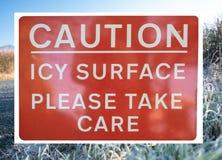 Ostrożności powierzchni Lodowaty znak obraz royalty free
