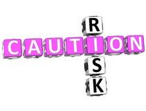 Ostrożności ryzyka Crossword Obrazy Stock