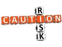 Ostrożności ryzyka Crossword Zdjęcia Stock