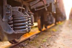 Ostrość na koło pociągu towarowym Zdjęcia Stock