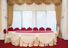 ostrości szkieł stołowy ślub Zdjęcia Stock