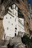 Ostrog monastery. Monastery is placed against an almost vertical background, high up in the large rock of Ostro�ka Greda, in Montenegro Royalty Free Stock Photography