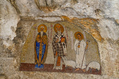 Mosaics in Ostrog monastery. OSTROG, MONTENEGRO - JUNE 21, 2017: Mosaics in Ostrog monastery, Montenegro. Ostrog monastery is the most popular pilgrimage place Royalty Free Stock Images