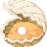 Ostron med en pärla royaltyfri illustrationer