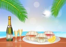 Ostron och champagne Arkivbild