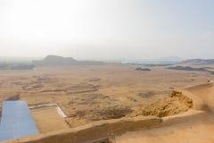 Ostrosłup esplanada antyczny miasto Moche i słońce zdjęcia stock
