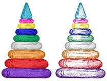 Ostrosłup od kolorowych plastikowych pierścionków Fotografia Royalty Free