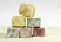Ostrosłup Orientalni cukierki, cukierki, marmoladowi, posiłek, cukier, del Zdjęcia Stock