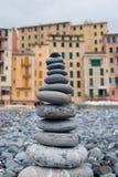 Ostrosłup otoczaki osobliwie Camogli kolor i plaża Zdjęcia Stock