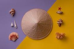 Ostrostożkowy kapelusz z seashells na kreatywnie tle Zdjęcia Stock