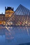 Ostrosłup Louvre Obrazy Stock
