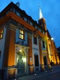 Ostrow Tumski在晚上 有启发性城内住宅和牧师会主持的教堂 弗罗茨瓦夫哥特式寺庙  免版税库存照片