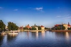 Ostrow Tumski Νησί καθεδρικών ναών και ο ποταμός Odra WROCLAW ΠΟΛΗ, ΠΟΛΩΝΙΑ Στοκ Φωτογραφία