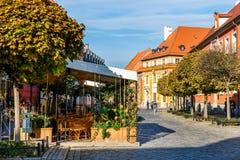 Ostrow Tumski al primo mattino, distretto storico di Wroclaw, Polonia fotografie stock libere da diritti