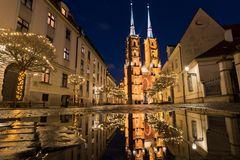 Street in Wroclaw, Poland. Christmas decorations royalty free stock photos