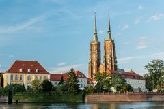 Ostrow Tumski Cathedral in Wroclaw, Poland. stock photography
