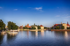 Ostrow Tumski Kathedralen-Insel und der Odra-Fluss BRESLAU-STADT, POLEN Stockfotografie