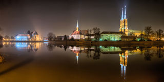 Ostrow Tumski in the night, Wroclaw. Poland royalty free stock images