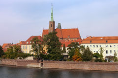 Ostrow Tumski Skyline in City of Wroclaw Stock Photo
