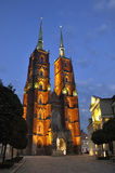 Ostrow Tumski in Wroclaw. Ostrow Tumski in Wroclaw by night royalty free stock photo