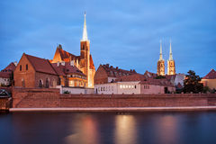 Ostrow Tumski in Wroclaw at Dusk Stock Images