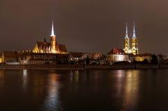 Ostrow Tumski a Wroclaw entro la notte Fotografia Stock Libera da Diritti