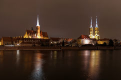 Ostrow Tumski in Wroclaw by night Royalty Free Stock Photography