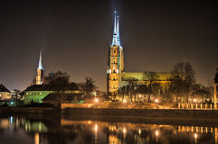 Ostrow Tumski, Wroclaw, Poland. Ostrow Tumski in the night, Wroclaw, Poland stock photos