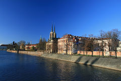 Ostrow tumski, wroclaw, poland. View of ostrow tumski, wroclaw, poland, famous landmark, breslau stock photo