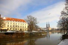 Ostrow Tumski in Wroclaw, Polen stock foto's