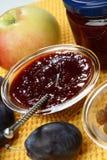 Ostruzione ed uva passa della prugna in ciotola di vetro Fotografia Stock
