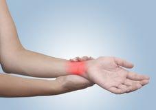 Ostry ból w kobieta nadgarstku Zdjęcie Stock