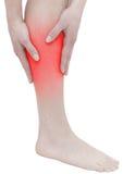Ostry ból w kobiety łydce Zdjęcia Stock
