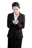 Ostry ból w kobiety ręce odizolowywającej na białym tle Ścinek ścieżka na białym tle Zdjęcia Stock