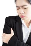 Ostry ból w kobiety ręce odizolowywającej na białym tle Ścinek ścieżka na białym tle Zdjęcie Stock