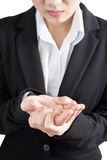 Ostry ból w kobiety ręce odizolowywającej na białym tle Ścinek ścieżka na białym tle Obrazy Stock