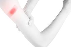Ostry ból w kobiety ręce odizolowywającej na białym tle Ścinek ścieżka na białym tle Obraz Stock