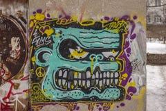 Ostry graffitti w miasteczku Priozersk fotografia stock