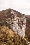 Ostry kamen castle ruins with Zaruby hill in Male Karpaty mountains in Slovakia Stock Photos