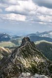 Ostry Rohac and Giewont peak on the background from Placlive peak in Western Tatras mountains in Slovakia. Sharp Ostry Rohac with Giewont on the background from royalty free stock photos