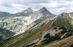 Ostry Rohac and Placlive peaks on Rohace mountain group in Western Tatras mountains in Slovakia. View to Ostry Rohac and Placlive peaks on Rohace mountain group stock photo