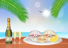 Ostrygi i szampan Fotografia Royalty Free