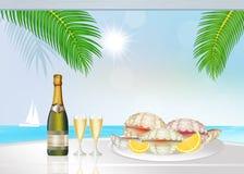 Ostrygi i szampan Zdjęcia Stock