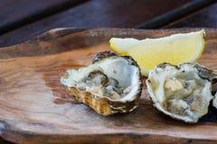 Ostrygi z cytryną na drewnianym talerzu Fotografia Stock
